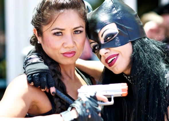 Lara Croft and Catwoman characters, Comic Con 2011 © Gary Allard