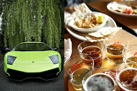 Lamborghini LP640 and Redhook beer sampler in Woodinville, WA