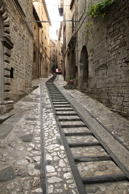 Stairs and street in Todi, Umbria, Italy