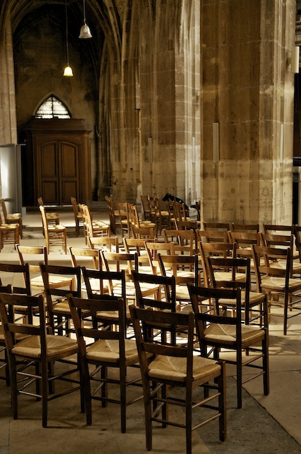 Chairs arranged for a concert in Église Saint-Merri‎