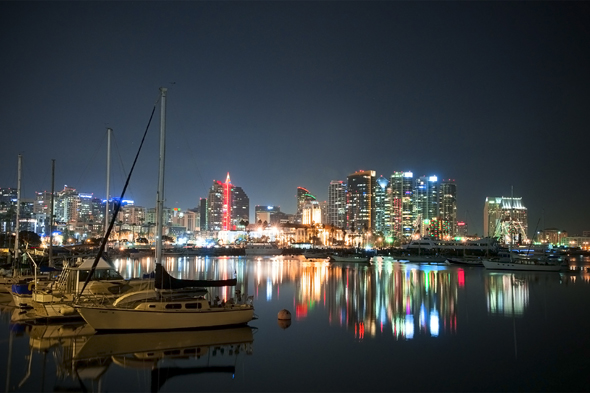 San Diego Bay, Christmas Skyline © 2011 Gary Allard All Rights Reserved