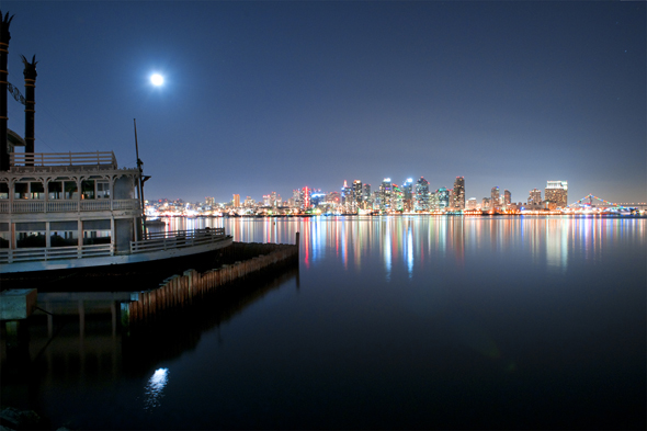 San Diego Holiday Skyline at night, Photographed from Harbor Island